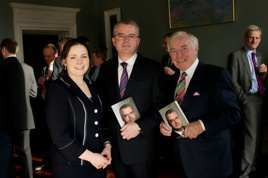 Patricia Callan with author Paul Davis and Senator Feargal Quinn at the launch of EVOLVE